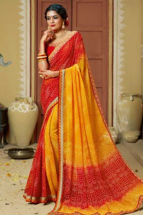 Faux Georgette Traditional Bandhej Saree Yellow and Red Color With Zari Work