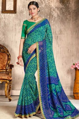 Faux Georgette Wedding Bandhani Saree Green and Blue Color With Printed Work Blouse