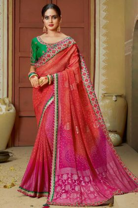 Faux Georgette Wedding Bandhani Saree Thread Embroidery Work In Red and Pink Color