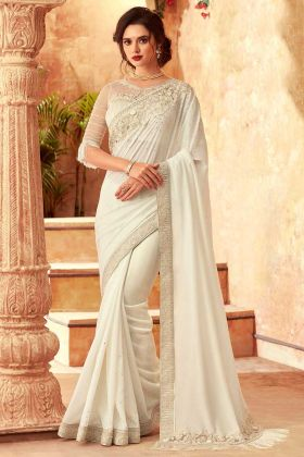 Feather Silk Designer Fancy Party Wear Saree In Off White