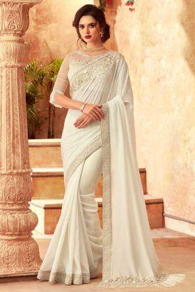 Feather Silk Designer Fancy Party Wear Saree In Off White