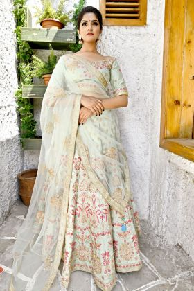 Fern Green Goldy Silk Bridal Lehenga Choli Online