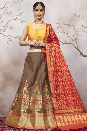 Festival Lehenga Choli With Jacquard Silk Brown Color