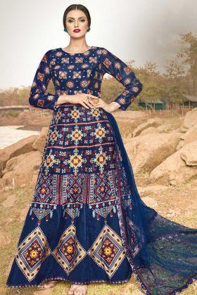 Festival Season Navy Blue Art Silk Anarkali Gown