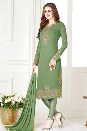 Festival Special Light Green Georgette Churidar Dress