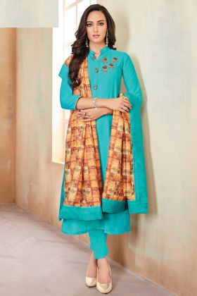 Festival Special Pretty Sky Blue Dress In Heavy Zam Cotton Fabric