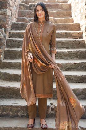 Festival Wear Dark Beige Muslin Salwar Suit