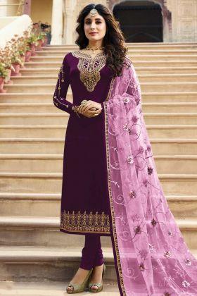Festival Wear Dark Purple Satin Georgette Suit