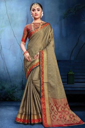 Festival Wear Grey And Black Color Cotton Silk Saree