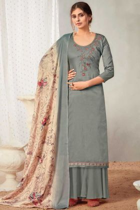 Festival Wear Grey Pure Solid Zam Cotton Salwar Suit