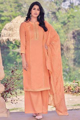 Festival Wear Light Orange Viscose Muslin Salwar Suit