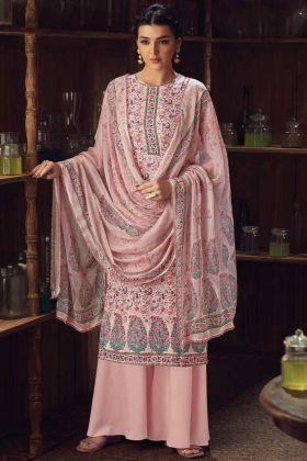 Festival Wear Light Pink Wool Pashmina Kashmiri Suit