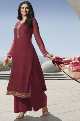Festival Wear Maroon Color In Royal Crepe Fabric