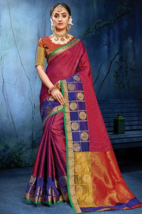 Festival Wear Multi Color Cotton Silk Saree