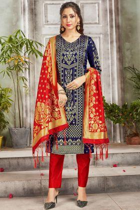 Festival Wear Navy Blue Color Banarasi Art Silk Salwar Suit