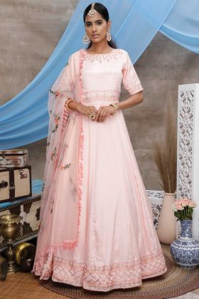 Festival Wear Peach Diamond Georgette Gown