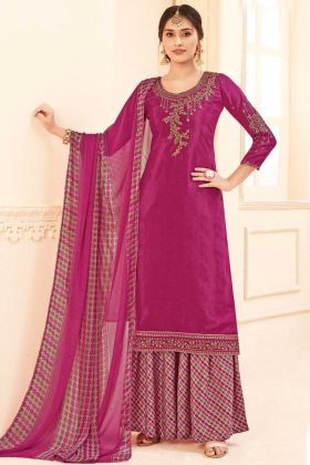 Festival Wear Pink Color Pure Crepe Plazzo Suit