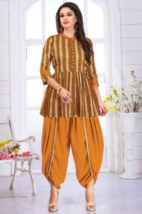 Festival Wear Pure Cotton Multi Color With Yellow Dhoti Set
