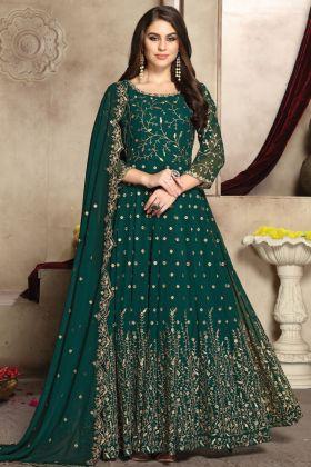 Festival Wear Rama Green Designer Georgette Anarkali Suit