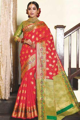 Festival Wear Red Art Silk Weaving Saree