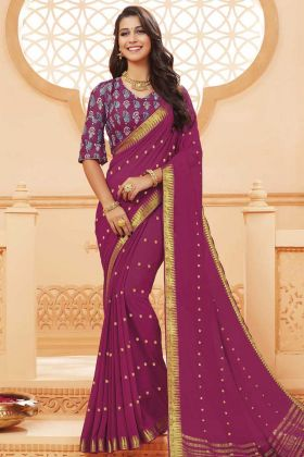 Festival Wear Satin Silk Dark Magenta Saree