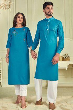 Festival Wear Sky Blue Pure Cotton Couple Combo Kurta With Payjama And Kurti With Pant
