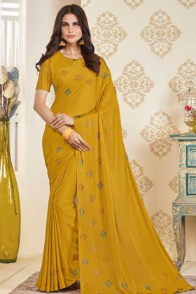 Festival Wear Soft Satin Musturd Yellow Saree