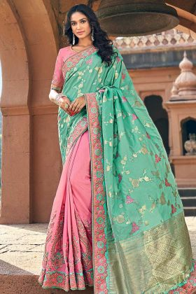 Festival Baby Pink And Mint Banarasi Silk Jacquard Saree