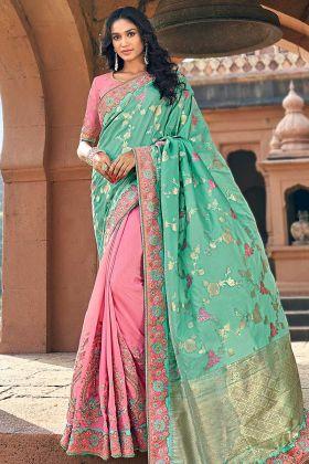 Festival Baby Pink And Mint Banarasi Silk Jacquard Saree