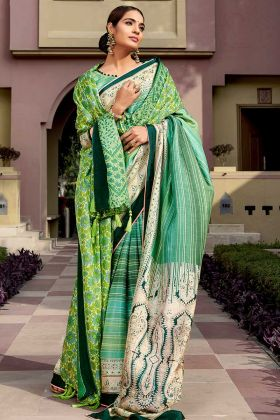 Festival Saree With Chanderi Silk Green Color