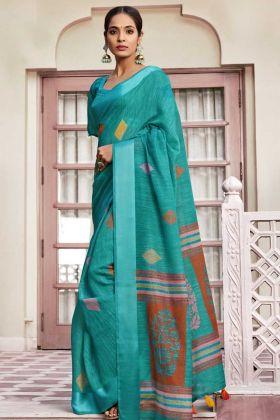 Festival Special Sky Blue Fancy Cotton Casual Wear Saree