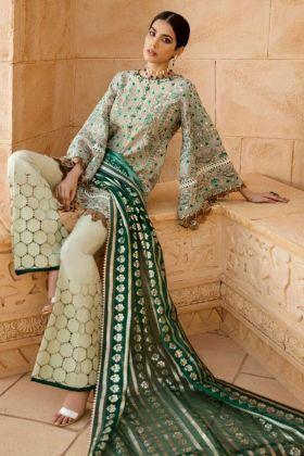 Festive New Arrival Cambric Cotton Green Color Pakistani Salwar Suit For Eid