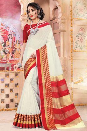 Festive Season Designer Saree White And Red Color