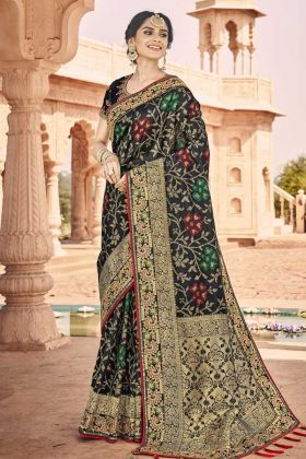 Festive Season Heavy Embroidered Saree In Black