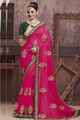 Festive Season With Embroidered Saree Rani Pink Color