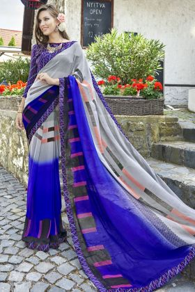 Festive Wearing Georgette Fancy Printed Multi Color Saree