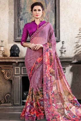 Festive Collection Printed Chiffon Brasso Light Purple Saree