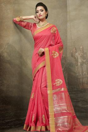 Festive Pink Cotton Saree Online