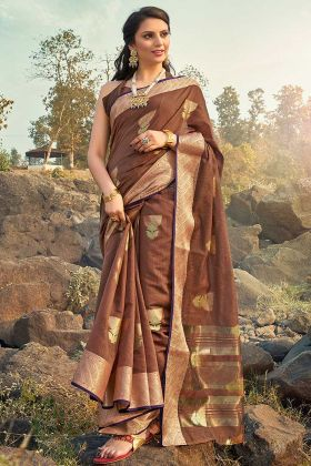 Festive Saree In Jacquard Cotton Brown Color