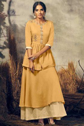 Festive Season Designer Indo-Western Pair In Mustard Yellow