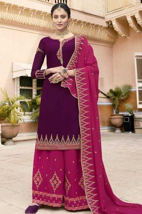 Festive Season Wearing Heavy Designer Suit In Dark Purple