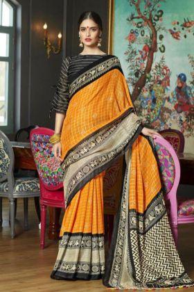 Festive Special Orange Linen Juth Diwali Collection Saree