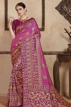 Festive Special Weaving Work Purple Festival Saree With Soft Art Silk Fabric