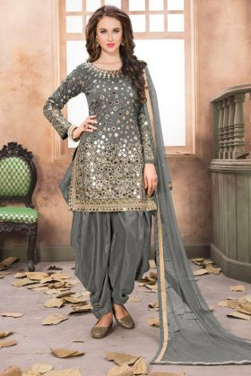 Festive Wear Grey Patiala Style Salwar Suit In Taffeta Silk Fabric With Mirror Work