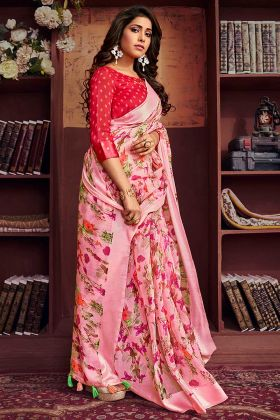 Festive Wear Printed Festive Saree Pink And Red Blouse