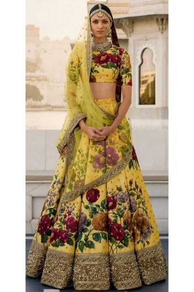 Fine Art Silk Bridal Lehenga Choli Yellow Color With Sequins Embroidery