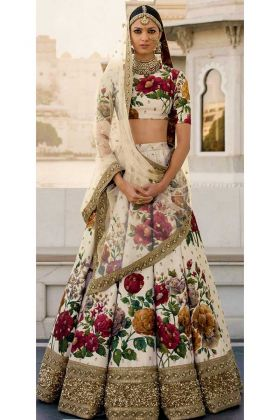 Fine Art Silk Sabyasachi Bridal Lehenga Cream Color
