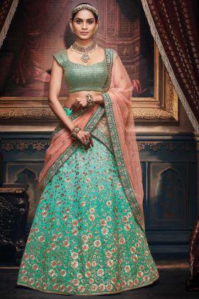 Firozi Shaded Handloom Silk Designer Wedding Lehenga