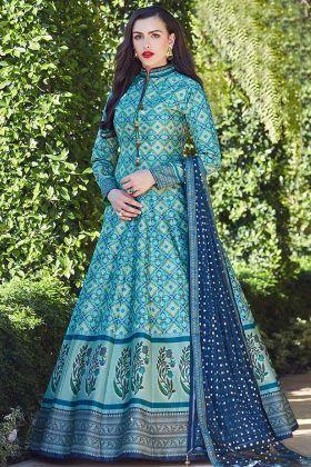Firozi Heavy Soft Killer Silk Wedding Gown