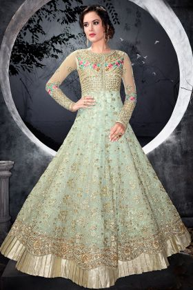 Five Star Net Green Gown Style Dress
